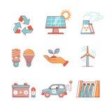 Produção de eletricidade e energia ecológica ilustração stock