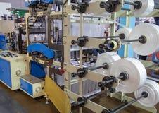 Produção de saco de plástico, extrusora Imagens de Stock Royalty Free