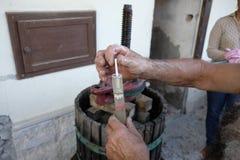 Produção de vinho caseiro Foto de Stock