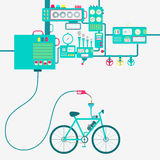 Produção elétrica da bicicleta e da gasolina ilustração royalty free