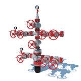 produção Grey Red do gás natural de encaixes de gás da fonte da ilustração 3d Ilustração Stock