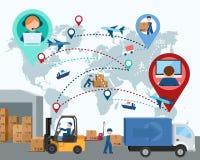 Produção, transporte, entrega da carga mapa Illus do vetor Fotografia de Stock