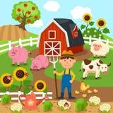 Producción agrícola, paisaje rural Ilustración libre illustration