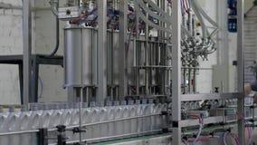 Producción de aceite de motor, fila de botellas plásticas grises en línea móvil del transportador en fábrica almacen de video