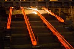 Producción de acero, planta de la construcción metálica Proceso de la laminación fotografía de archivo libre de regalías