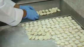 Producción de bolas de masa hervida de la carne almacen de metraje de vídeo