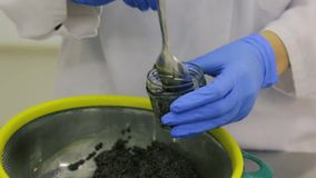 Producción de caviar negro en una fábrica de los pescados metrajes