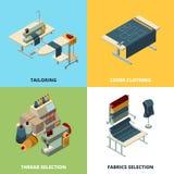 Producción de costura Máquinas de coser industriales de fabricación de las imágenes del vector del concepto de la materia textil  libre illustration