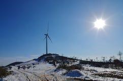 Producción de energía de la turbina del parque eólico imágenes de archivo libres de regalías