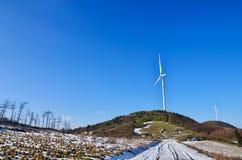 Producción de energía de la turbina del parque eólico fotografía de archivo libre de regalías