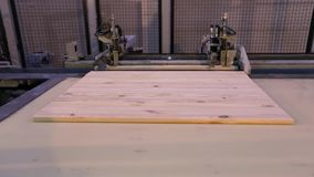 Producción de los paneles de los muebles, fábrica moderna de los muebles, línea moderna del transportador en una fábrica de los m metrajes