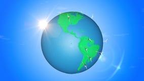 Producción energética de energía limpia en el lazo inconsútil de la tierra stock de ilustración
