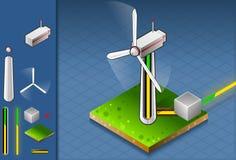 Producción isométrica de energía a través del turbin del viento ilustración del vector