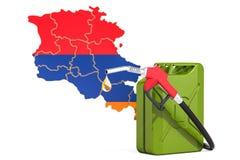 Producción y comercio de la gasolina en Armenia, concepto representación 3d ilustración del vector