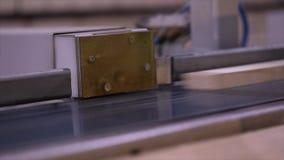 Producci?n de los muebles, transportador en una f?brica de los muebles Clasificaci?n automatizada de un haz de madera almacen de video