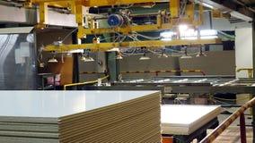 Producci?n de panel de fibras de madera laminado Hojas del panel de fibras de madera para la producci?n de los muebles fotos de archivo