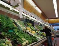 Produce Aisle. Vegetable aisle ina supermarket royalty free stock image
