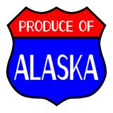 Produce Of Alaska. Route 66 style traffic sign with the legend Produce Of Alaska vector illustration