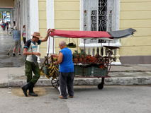 Produce Cart Street Merchant. Mobile produce cart in Cienfuegos, Cuba. Locals who grow their own food are allowed to sell anything above the state quotas, and Stock Photography