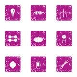 Produce energy icons set, grunge style. Produce energy icons set. Grunge set of 9 produce energy vector icons for web isolated on white background vector illustration