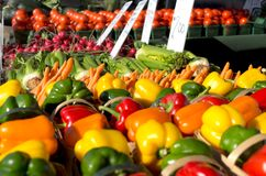 Produce at Farmers Market. Colorful background image of fresh produce at a farmers market Royalty Free Stock Photo
