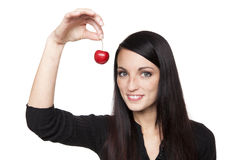 Produce - fruit woman with cherry Royalty Free Stock Photos