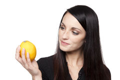 Produce - fruit woman with lemon Stock Photo