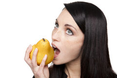 Produce - fruit woman with pear Stock Photography