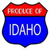 Produce Of Idaho. Route 66 style traffic sign with the legend Produce Of Idaho isolated royalty free illustration