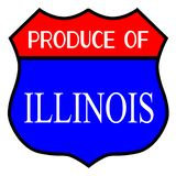 Produce Of Illinois. Route 66 style traffic sign with the legend Produce Of Illinois vector illustration