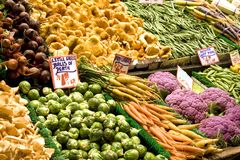Produce Isle. Various fresh vegetables form this colorful produce display Stock Photos