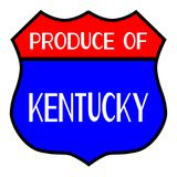 Produce Of Kentucky. Route 66 style traffic sign with the legend Produce Of Kentucky stock illustration