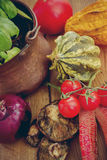 Produce on a kitchen table Royalty Free Stock Photography