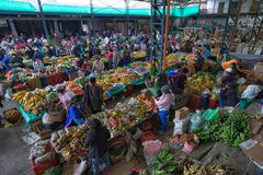 Produce market in Silvia, Colombia stock images