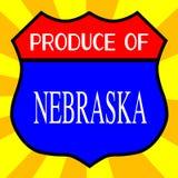Produce Of Nebraska. Route 66 style traffic sign with the legend Produce Of Nebraska stock illustration