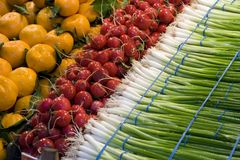 Produce: Orange, Red and Green. Vine ripe oranges, red radishes, and onions from a colorful produce display at a local farmers market stock images