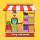 Produce shop keeper. Fruit and vegetables retail. Business owner working in his own store. Flat illustration. EPS 10 vector Stock Images