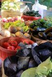 Produce stand in Charleston, SC at Saturday market stock images