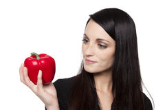Produce - vegetable woman with red bell pepper Royalty Free Stock Photo