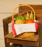 Produce in a wicker basket Royalty Free Stock Photo