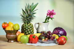 Produce on Wooden Table Royalty Free Stock Images