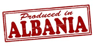 Produced in Albania. Stamp with text produced in Albania inside,  illustration Royalty Free Stock Photos