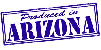 Produced in Arizona. Stamp with text produced in Arizona inside,  illustration Royalty Free Stock Photos