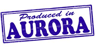 Produced in Aurora. Stamp with text produced in Aurora inside,  illustration Royalty Free Stock Photography