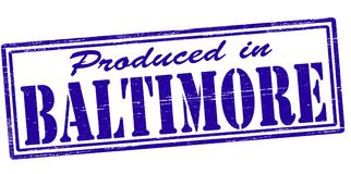 Produced in Baltimore. Stamp with text produced in Baltimore inside,  illustration Stock Photos