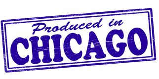 Produced in Chicago. Stamp with text produced in Chicago inside,  illustration Royalty Free Stock Photo