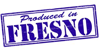 Produced in Fresno. Stamp with text produced in Fresno inside,  illustration Royalty Free Stock Image