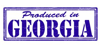 Produced in Georgia. Stamp with text produced in Georgia inside,  illustration Royalty Free Stock Photo