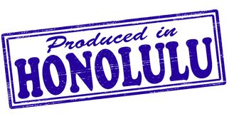 Produced in Honolulu. Stamp with text produced in Honolulu inside,  illustration Stock Image