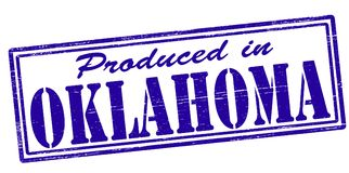 Produced in Oklahoma. Stamp with text produced in Oklahoma inside,  illustration Stock Images
